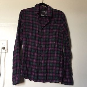Joes Jeans the shirt purple plaid button up shirt